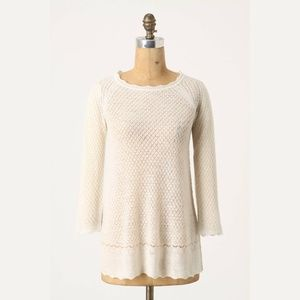 Anthropologie Moth Pointelle Wool Sweater